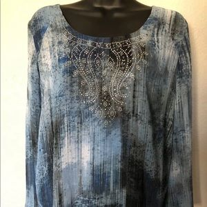 db Established 1962 Blue Beaded Front Tunic Sz M